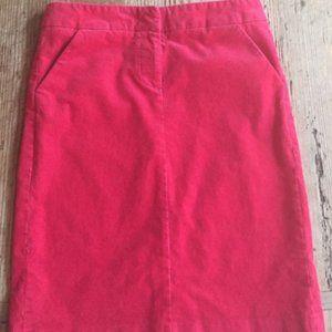 J Crew Corduroy Pencil Skirt Sz 0 in Magenta